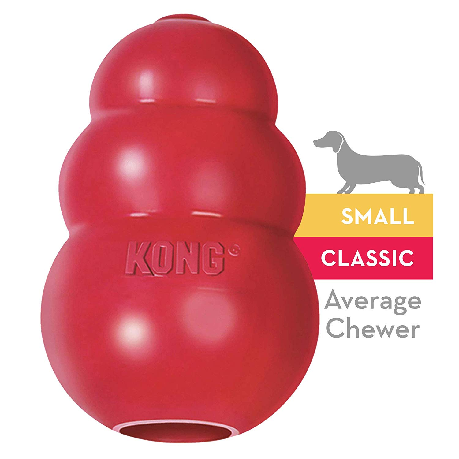 A red dog Kong for small dogs.