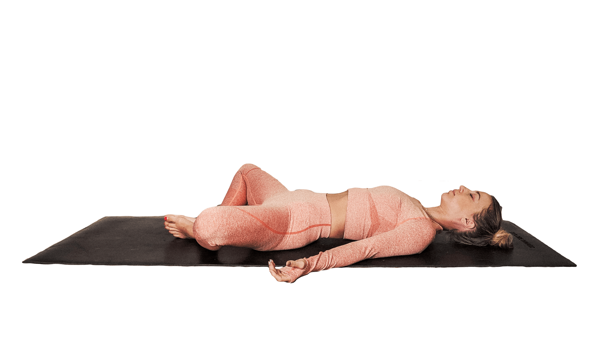 SUPTA BADDHA KONASANA. Lie on your back with the soles of your feet together and knees dropping open to each side.