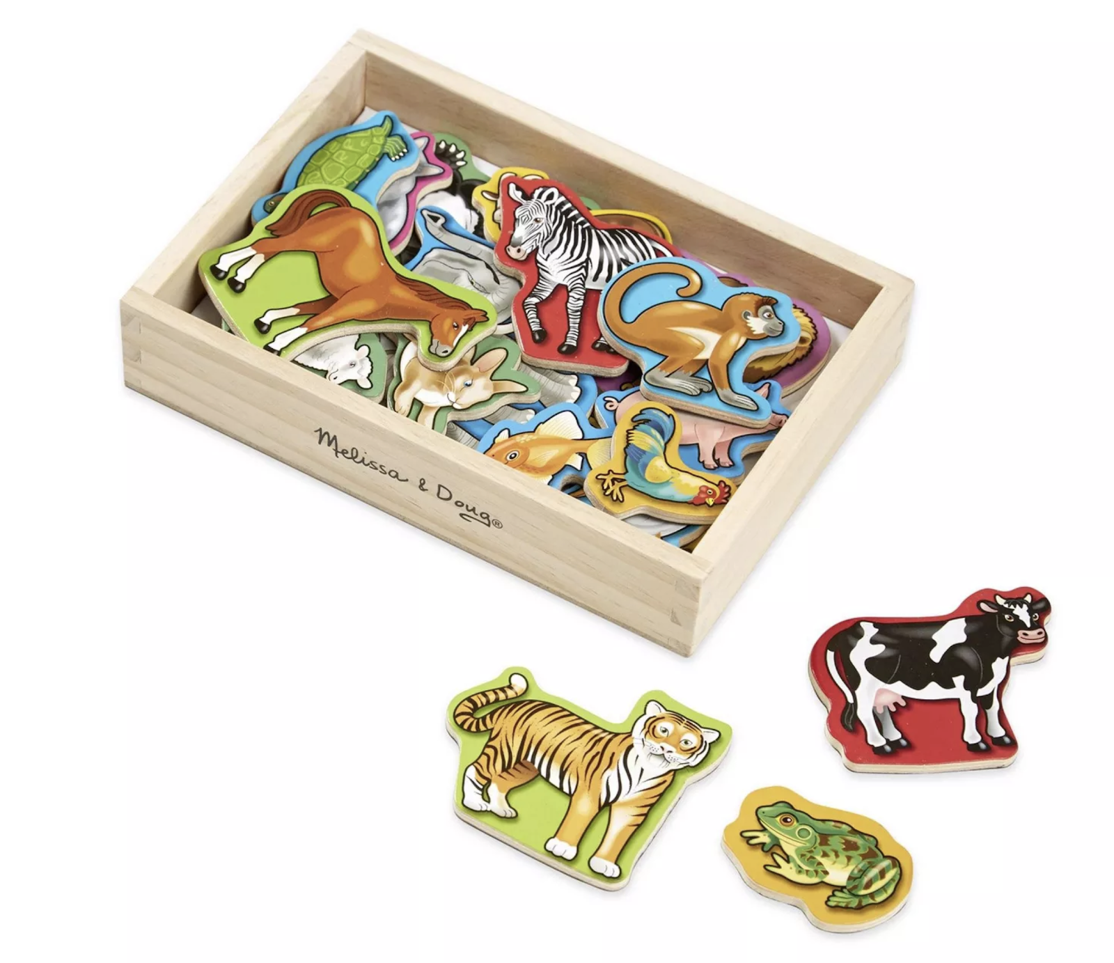 An assortment of wooden animal magnets.
