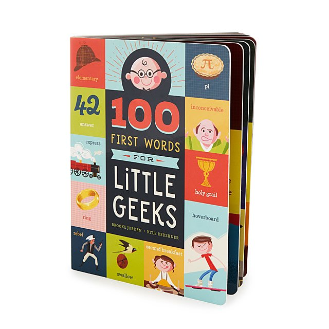 "The book ""100 First Words for Little Geeks."""