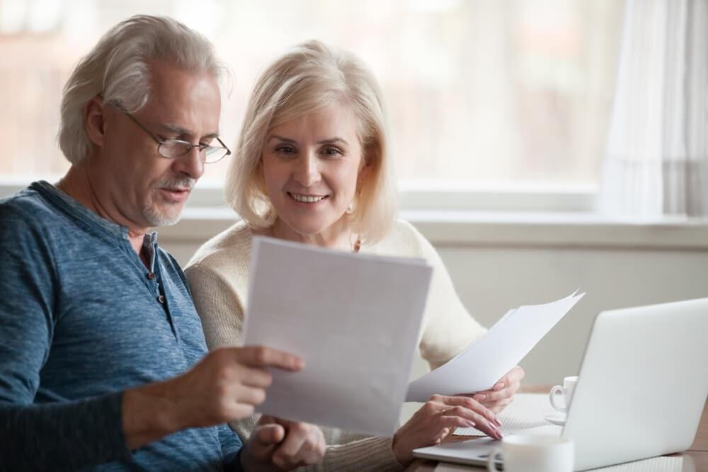 older couple talking about finances