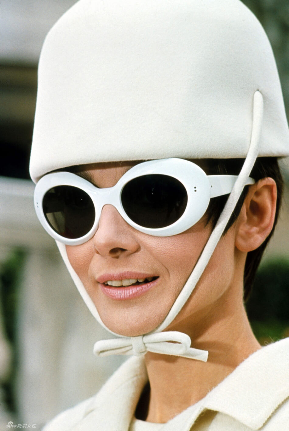 Audrey Hepburn in Clout goggles