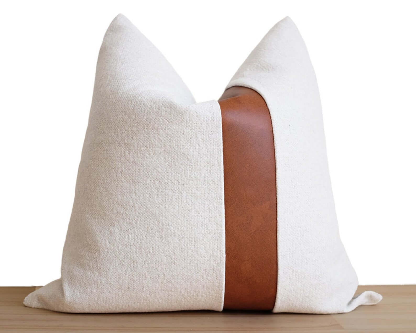 Pillow Covers with Faux Leather Trim