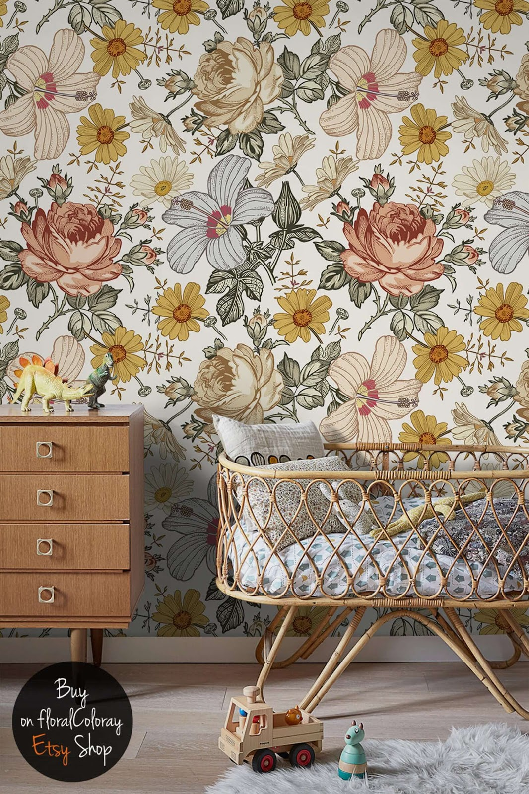 Removable floral wallpaper