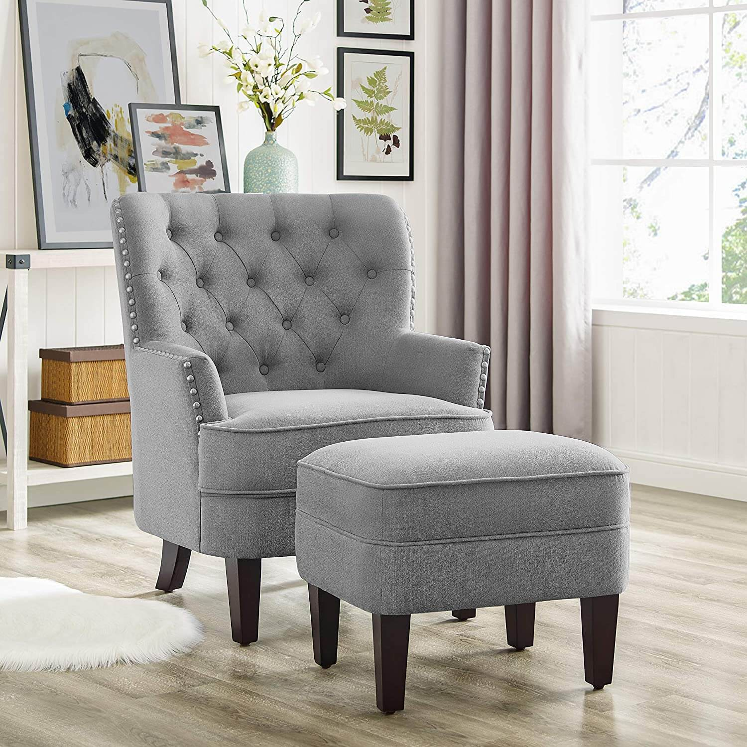 Rosevera Collection Nailhead Gustavo Chair with Ottoman