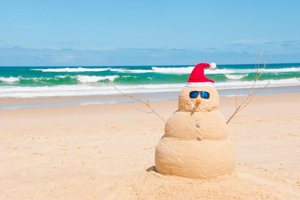Snowman on a beach