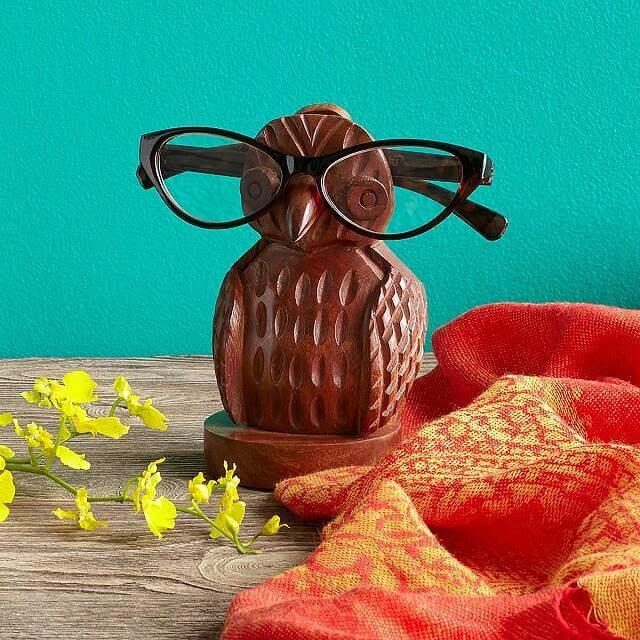Wood Owl Eyeglasses Holder