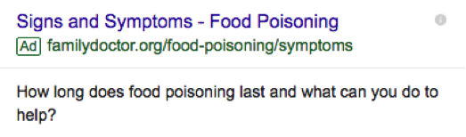 "Google Adwords Screenshot ""Signs and Symptoms - Food Poisoning"""