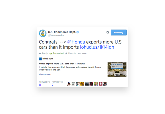 Twitter post from the U.S. Chamber of Commerce featuring one of Social Driver's clients