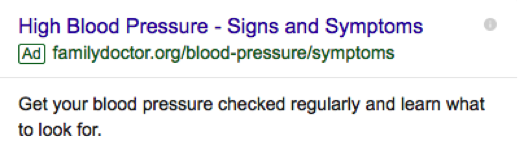"Google Adwords Screenshot ""High Blood Pressure - Signs and Symptoms"""