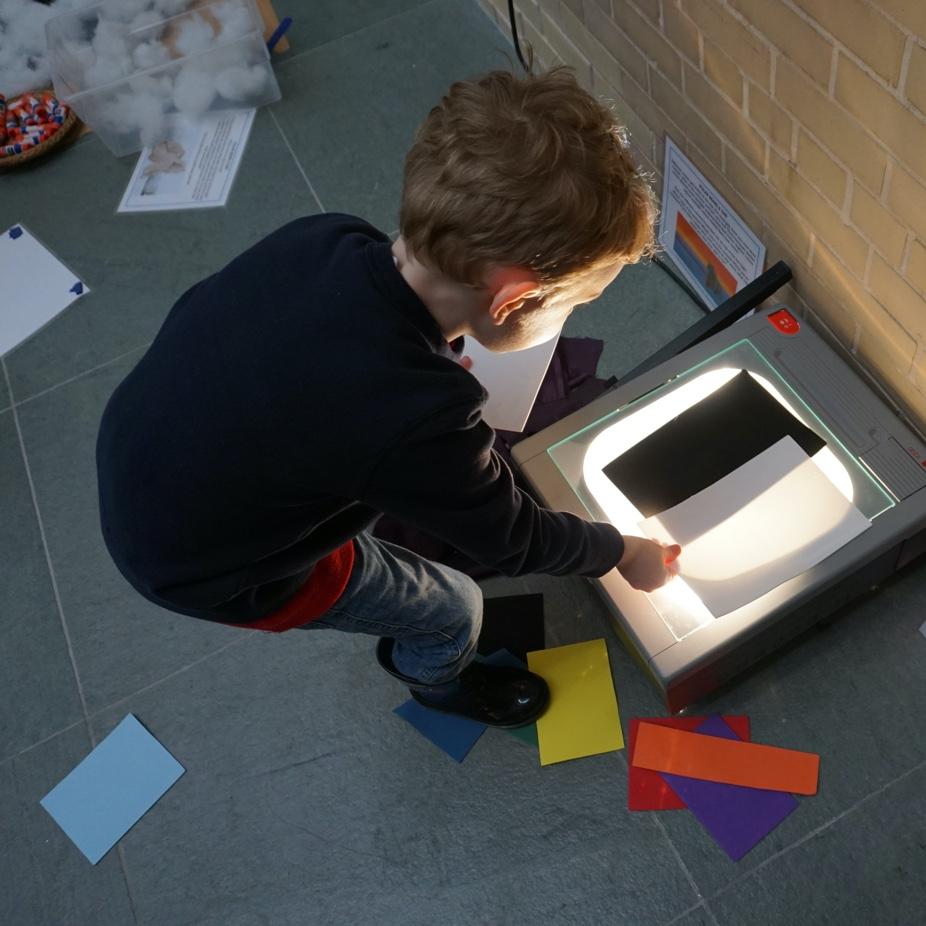 Young bow interacting with projector