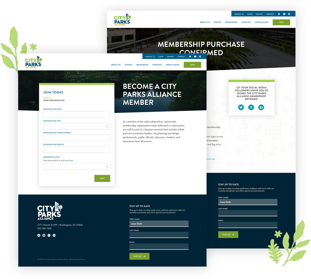 Collage of City Parks Alliance website screens
