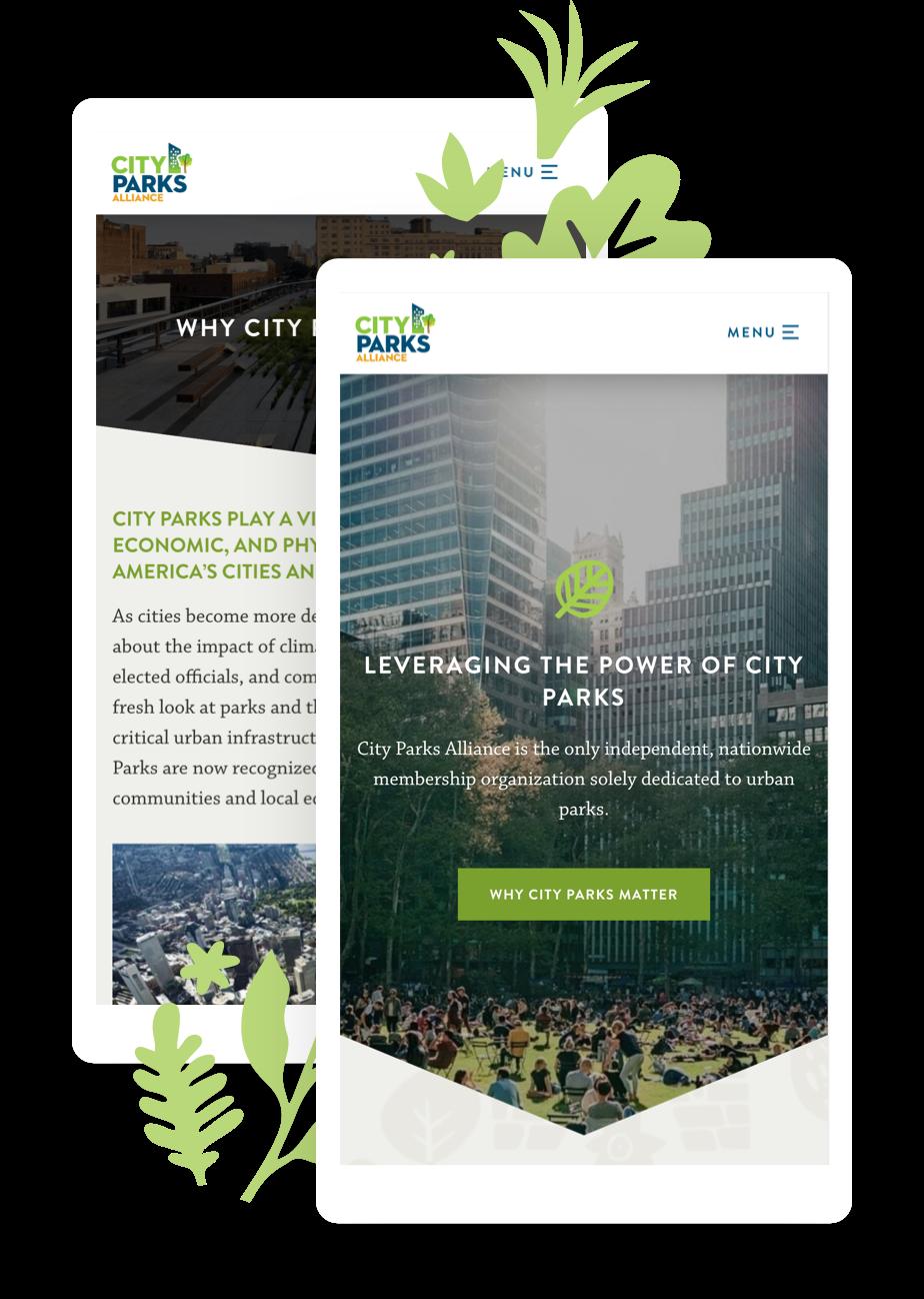 Mobile mockups of the City Parks Alliance Website