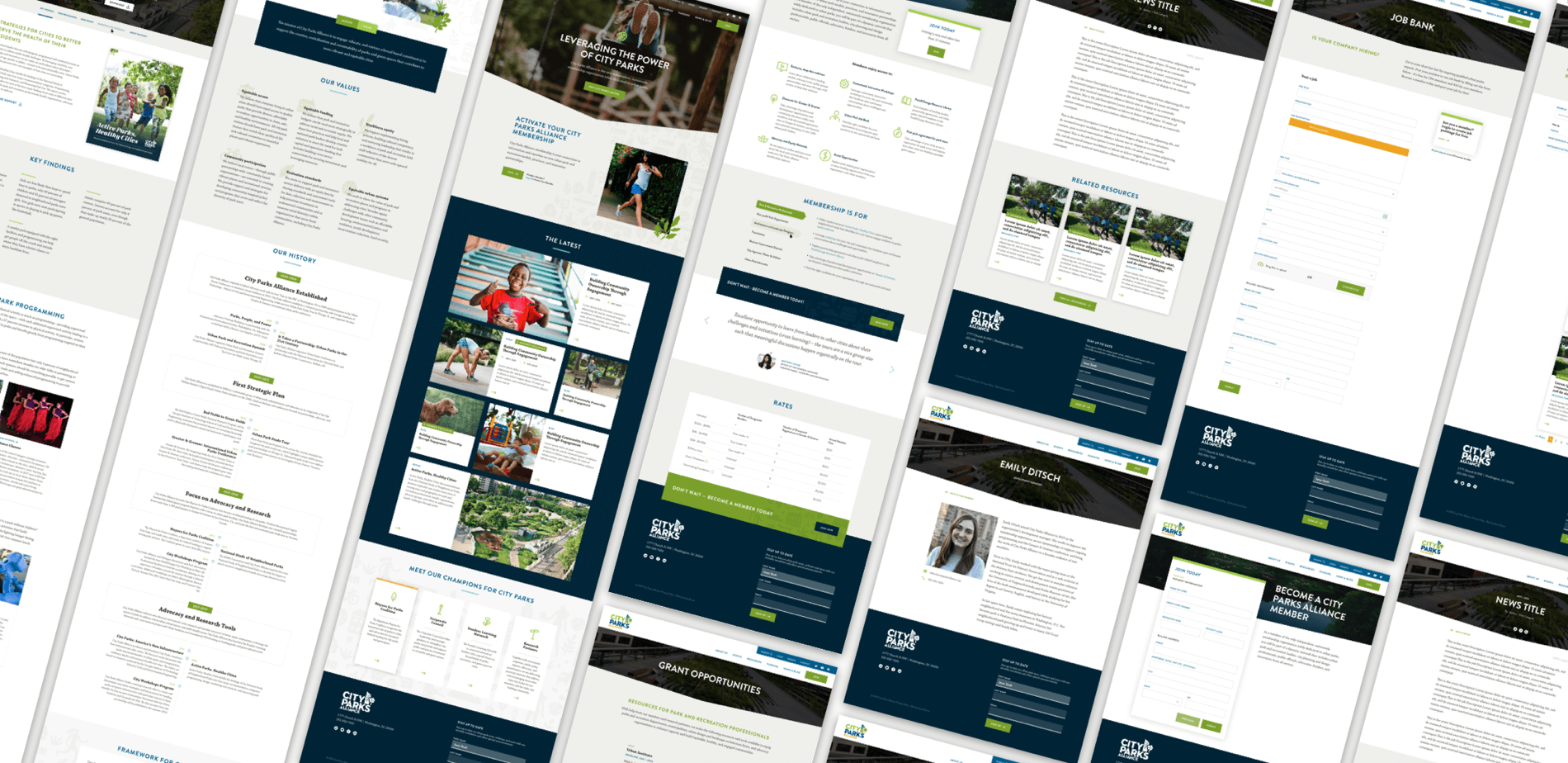 A series of City Parks Alliance screenshots laid out in a grid.