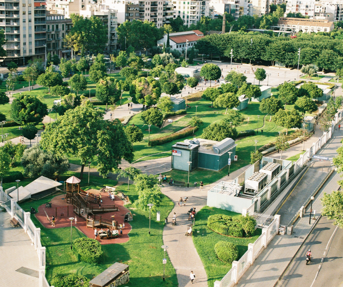 Arial view of an urban park