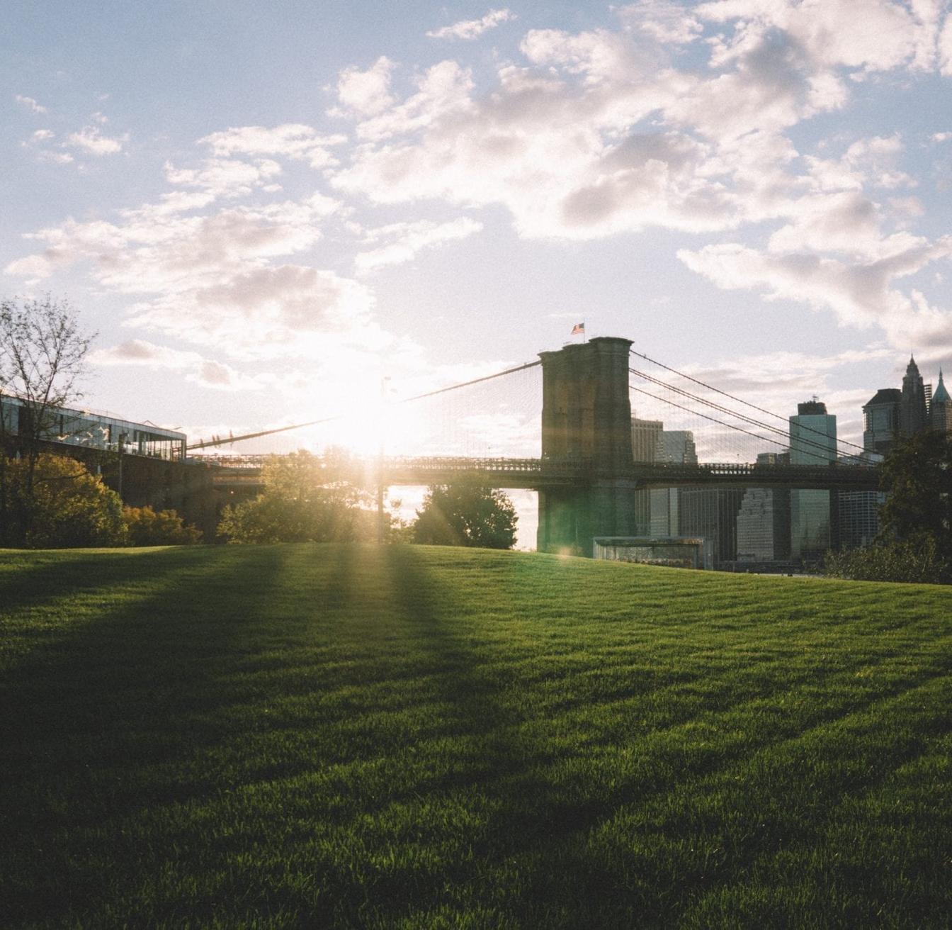 Image of a bridge taken from a green field