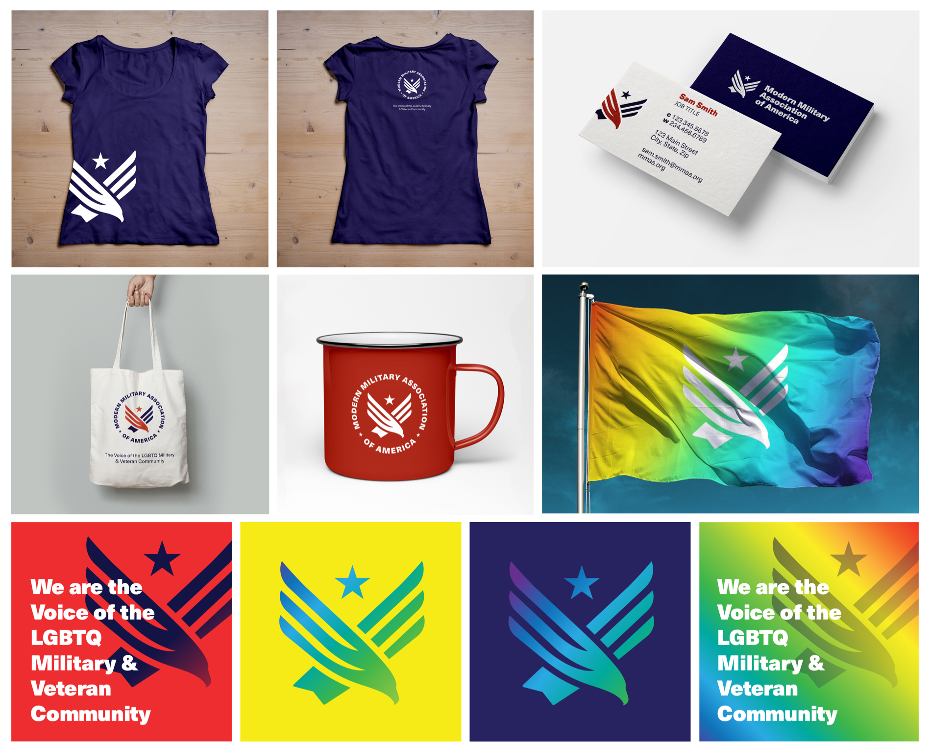 Collage of brand applications including flags, shirts, business cards and other merch.