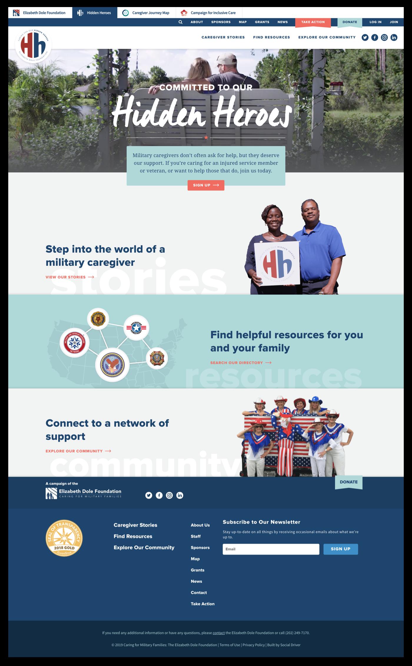 Screen shot of the Hidden Heroes Homepage