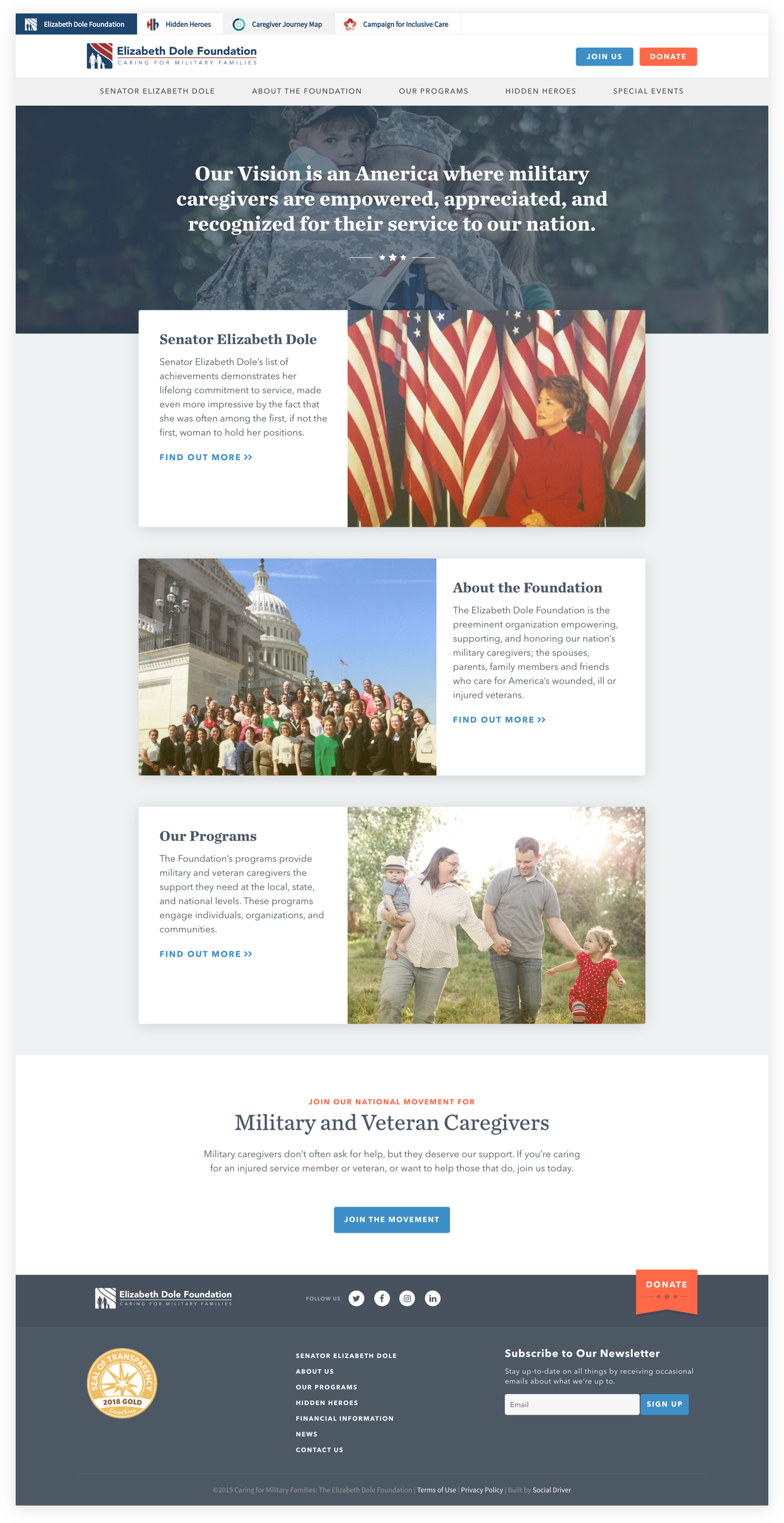 Screenshot of the Elizabeth Dole Foundation Homepage