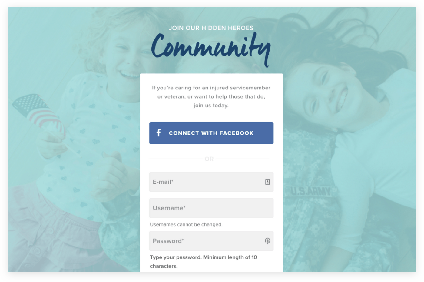 Screen shot of the Community Sign up widget
