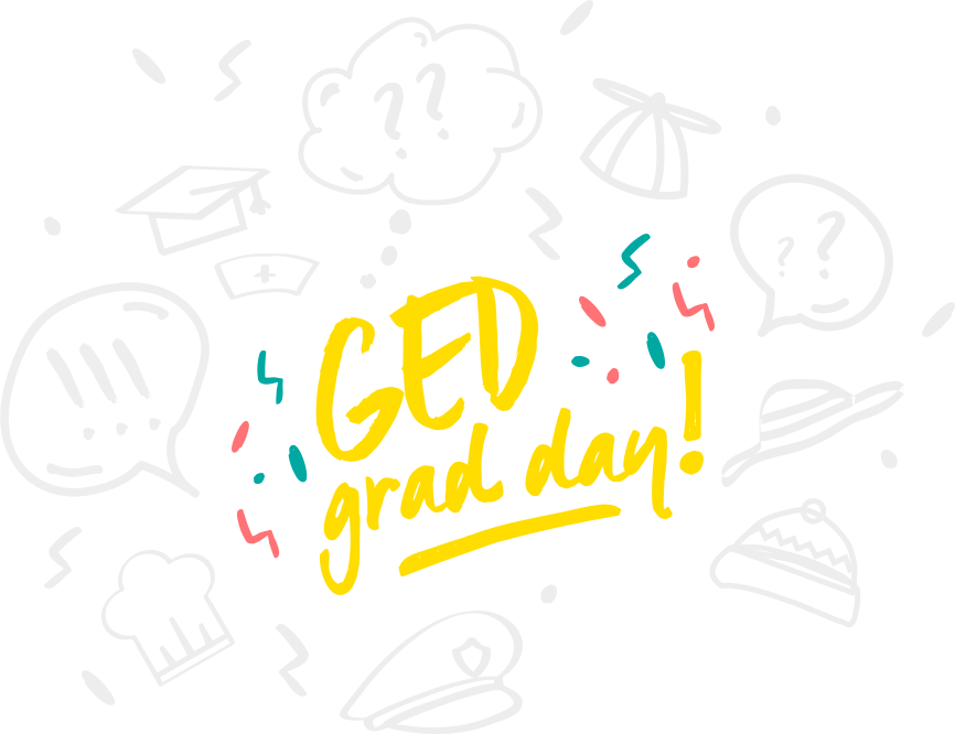 GED Grad Day logo and hand drawn doodles