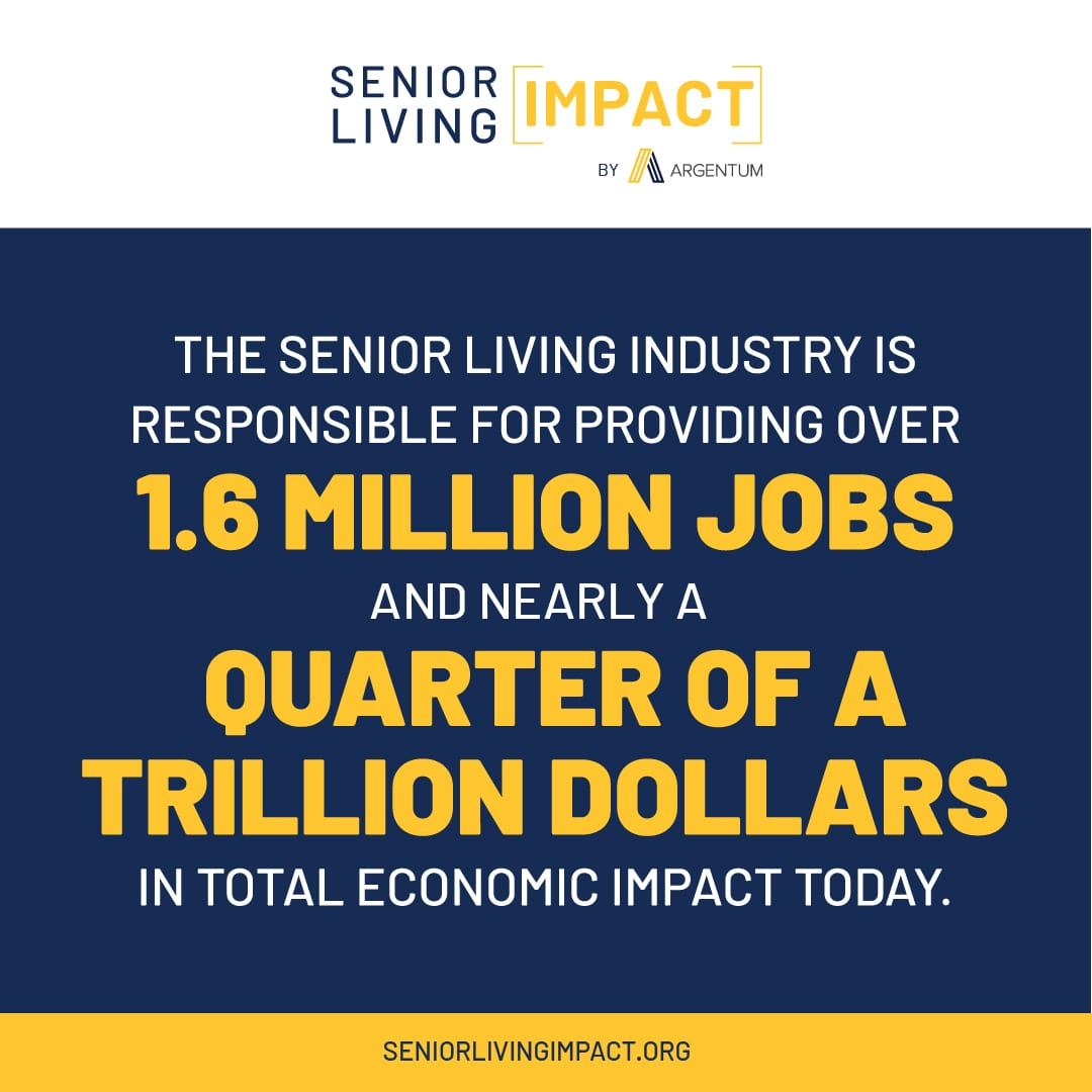 Social media infographic that shows the National Senior Living Impact.