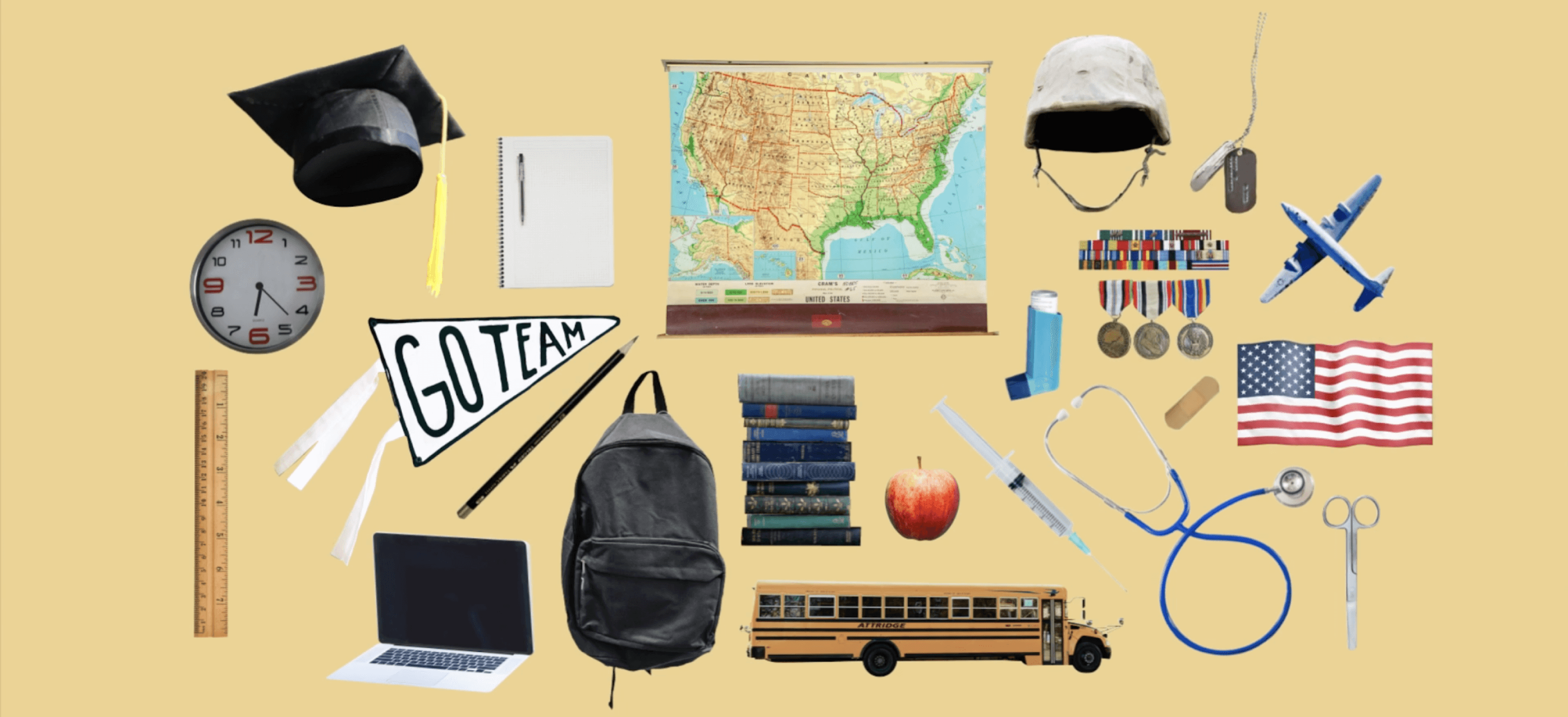 collage of school, military and medical equipment and supplies.