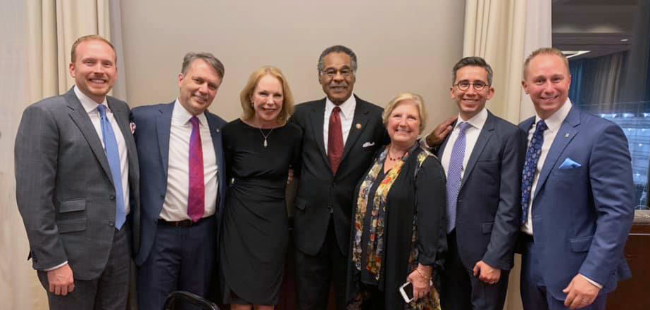 From left to right: CSO & Co-Founder Anthony Shop, former Kansas Governor Jeffrey William Colyer, President of People to People International Mary J. Eisenhower, Missouri Congressman Emanuel Cleaver, Kansas City Councilwoman & Board Chairwoman of People to People International Teresa Loar, CEO & Co-Founder Thomas Sanchez, CEO of People to People International Merrill Eisenhower Atwater