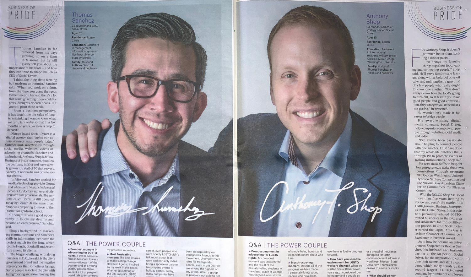 Photo of newspaper spread containing large headshots of CEO Thomas Sanchez and CSO Anthony Shop