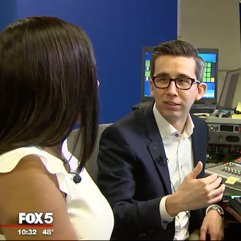 CEO Thomas Sanchez being interviewed on Fox 5