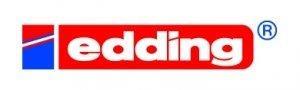 Logo der Firma Edding, weisser Schriftzug auf roter Fläche