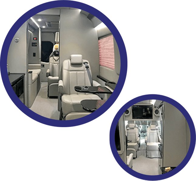 Interior of van with chairs and TMS therapy equipment