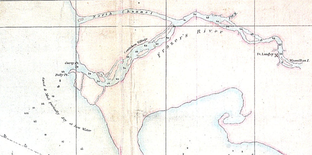Hand drawn map showing Richmond in 1852.