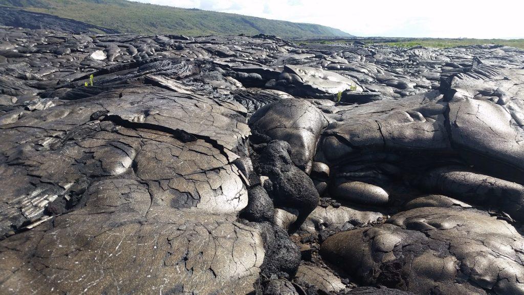 Vast landscape of basalt rocks.