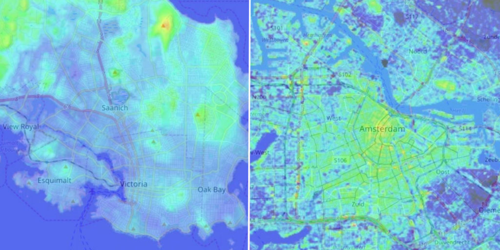 Comparison of the topography between Amsterdam and Victoria.