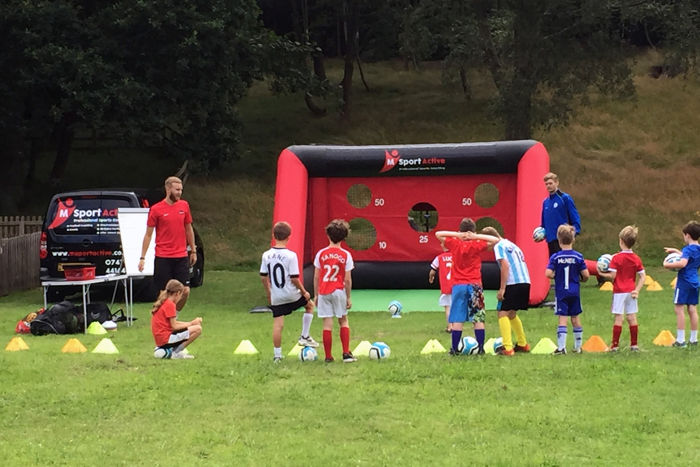 children seeing how fast they can shoot at the speed goal