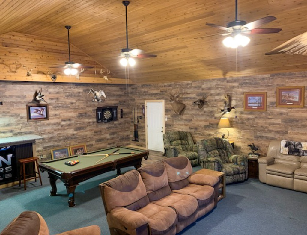 cupped wings lodge game room