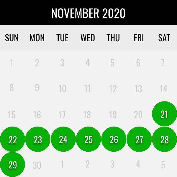 waterfowl november dates
