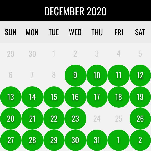 december waterfowl dates