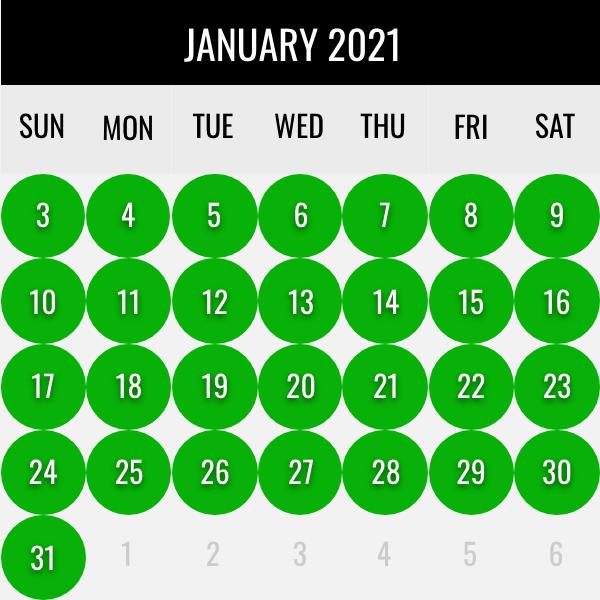 January waterfowl dates