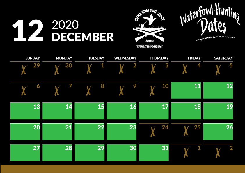 december duck hunting dates