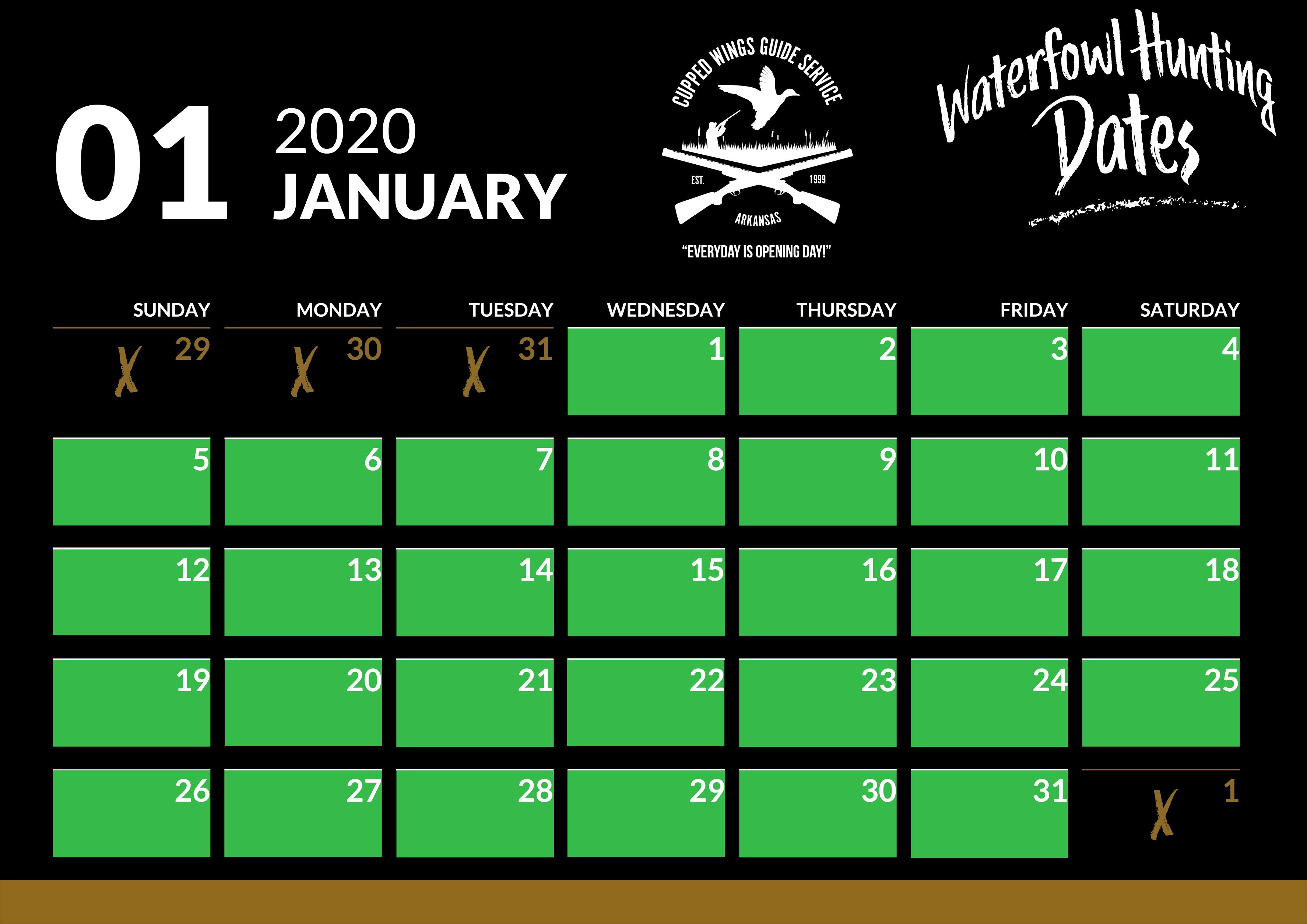 January hunt dates