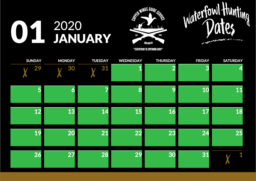 january duck hunting dates