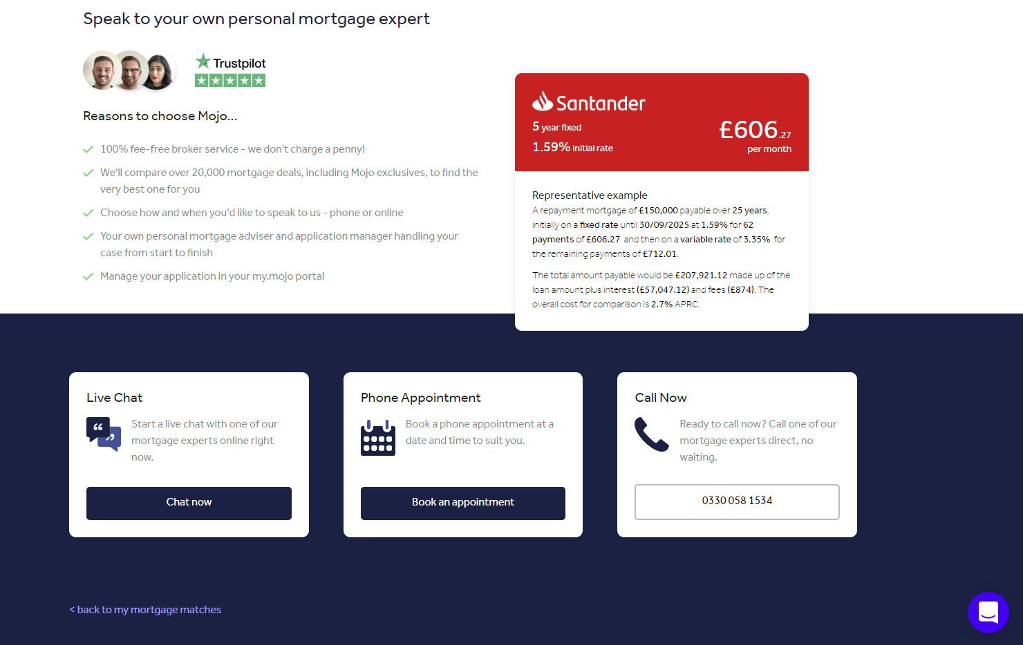 Santander mortgage rate application screen