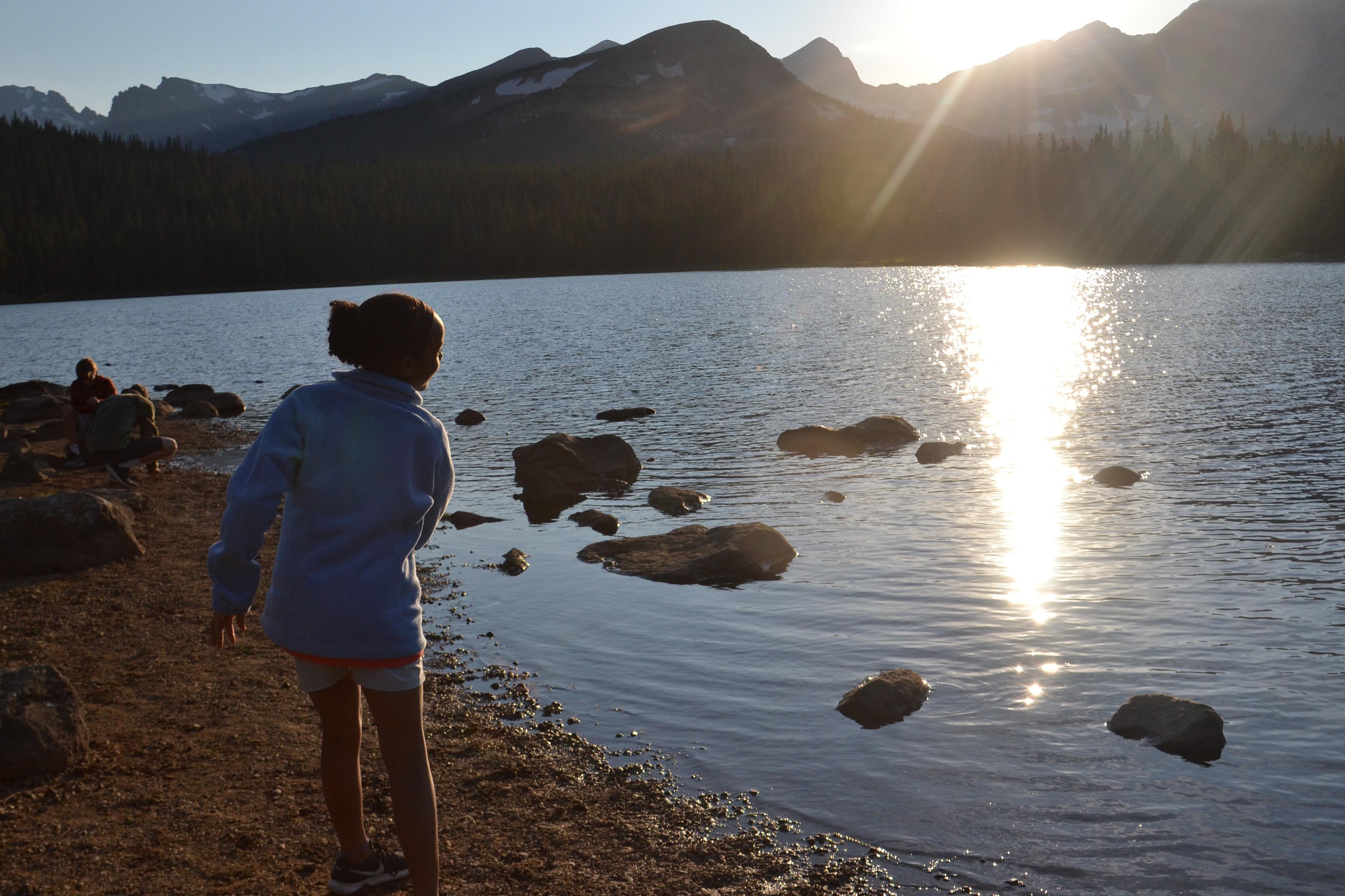 Girl playing in lake