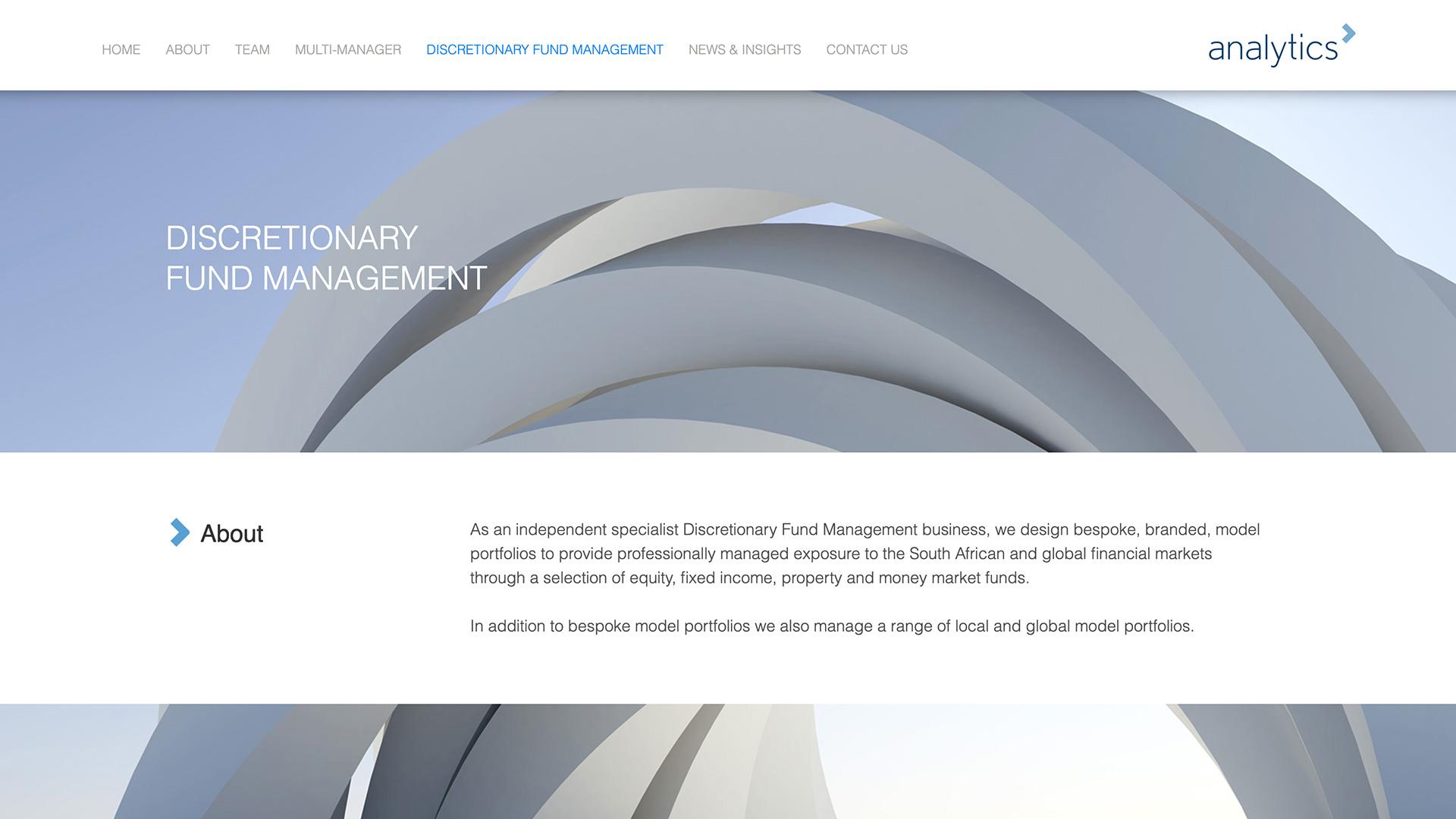 Screenshot of Analytics Discretionary Fund Page