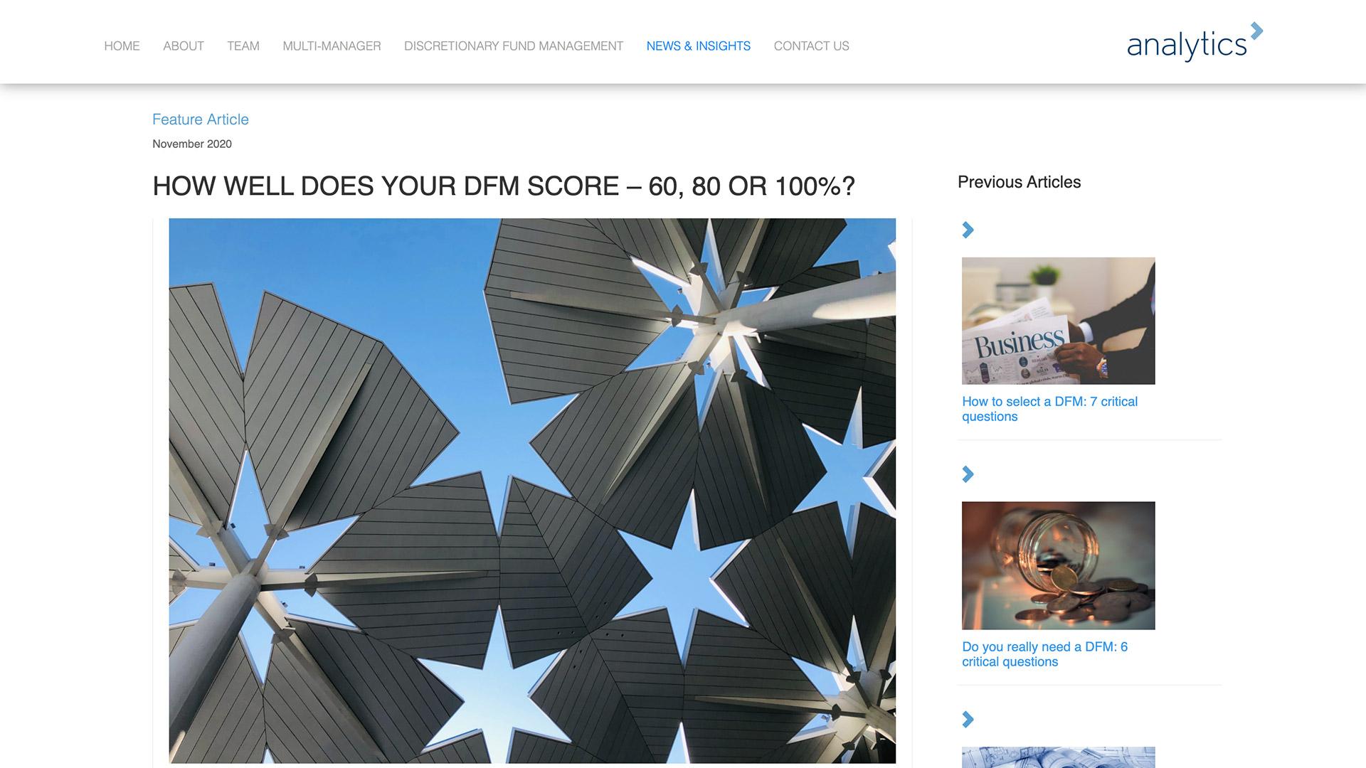 Screenshot of Analytics news and views page