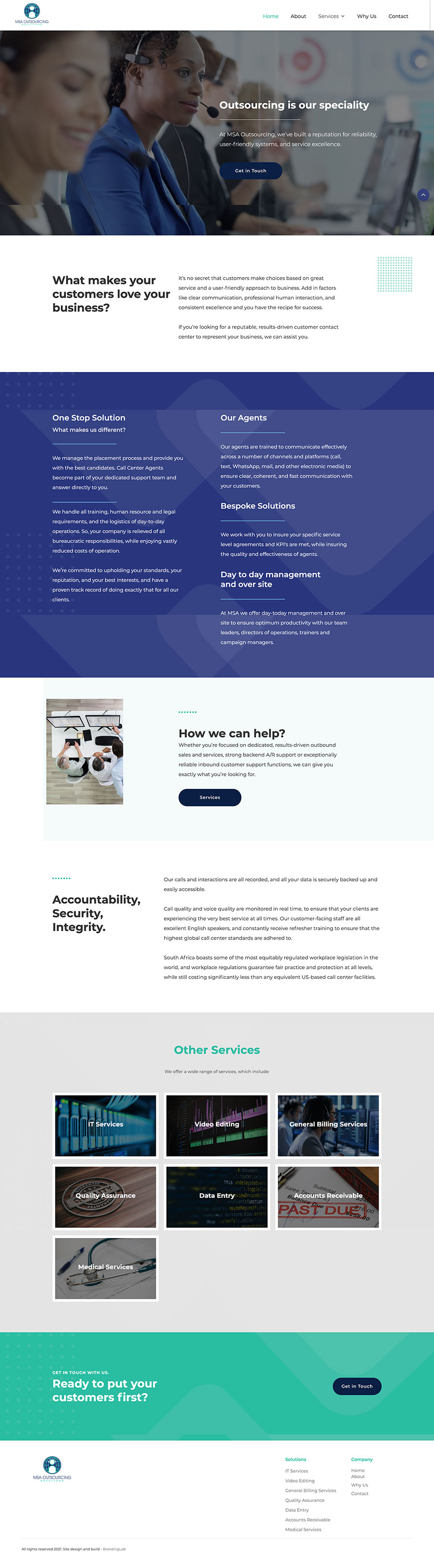 Landing page for MSAOS website.