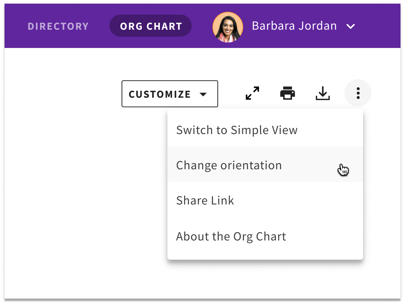 customized org chart view