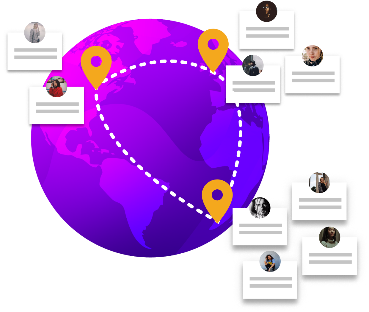 A globe with dispersed and remote workers